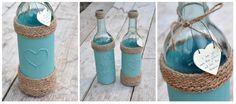 Al eens eerder had ik een wijnfles een andere 'look'gegeven zoals je hier ziet,maar inmiddels waren er weer 2 van die mooie 'blauwe'fle...