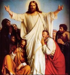 Jesus' Resurrection.  The Apostles are so happy to see Jesus has risen from the dead.