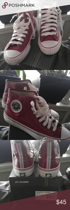 Retro ...PF * Flyers Red Leather Great Condition ~ Worn twice ~ Box included ~  NoTrades - Reasonable offers only!  Please ask as many questions as possible.  I want you to be 100% satisfied prior to purchasing! Aiming for a ⭐⭐⭐⭐⭐ Rating PF FLYERS Shoes