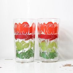 Vintage Cottage Rose Glass Cups by impulseART on Etsy, $10.00