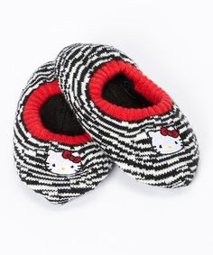 Look what I found on #zulily! Black & White Zebra Hello Kitty Slipper Socks #zulilyfinds