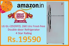 Amazon #LightningDeal is offering 30% off on LG GL-I292RPZL 260 Ltrs Frost-free Double-door Refrigerator 4 Star Rating at Rs.19590. Frost-free double-door refrigerator; 260 litres capacity, Energy Rating: 4 Star, 1 year on product Smart Inverter 3, ice beam door cooling, automatic smart connect and premium florid finish,   http://www.paisebachaoindia.com/lg-gl-i292rpzl-260-ltrs-frost-free-double-door-refrigerator-4-star-rating-at-rs-19590-amazon/