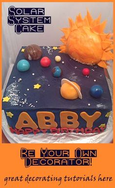 Solar System Cake - great decorating tutorials here.