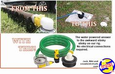 Sewer Solution - the better RV black tank disposal sewer system Sewer System, Water Powers, Electrical Connection, Rv Campers, Camping Ideas, Motorhome, Breakup, Pumps, Breaking Up
