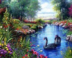 Swans Black (357 pieces)