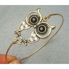 Owl Bangle Bracelet...I found this exact owl in earrings and made one into a necklace pendant!
