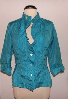 CHICOS Dressy Crinkle Blouse Shirt Jacket Top Size 2 Turquoise roll up sleeves #Chicos #Blouse #EveningOccasion