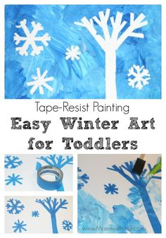 Cold weather got you stuck indoors again? Have your toddler try tape-resist painting for an easy winter art activity they'll love!
