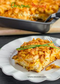 Christmas Morning Wife Saver – perfect casserole for Christmas morning made with ham and cheese and topped with cornflakes.