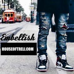 #Embellish denim available shop now  www.houseoftreli.com