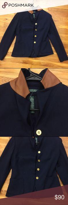 Ralph Lauren Blazer Brand new without tags Ralph Lauren navy blue blazer with gold buttons and leather detail on the collar. Ralph Lauren Jackets & Coats Blazers