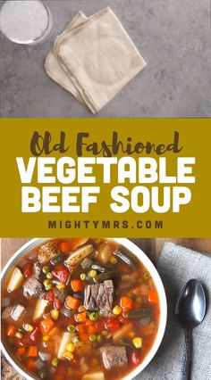 Old Fashioned Vegetable Beef Soup - This easy homemade beef soup recipe will make you feel like you're at grandma's house. This soup is light and full of healthy frozen veggies yet hearty with big chu Veg Beef Soup, Beef Stew Stove Top, Homemade Vegetable Beef Soup, Easy Beef Stew, Beef Soup Recipes, Vegetable Soup Recipes, Homemade Soup, Hamburger Soup, Crockpot Vegetable Beef Soup
