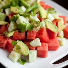 Watermelon, Avocado, and Cucumber Salad. A fresh summer salad packed with monounsaturated fat.