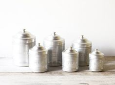 French vintage kitchen canister set, Aluminum kitchen storage, Rustic French kitchen decor on Etsy, $76.41 CAD