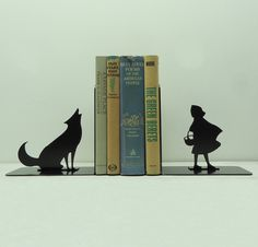 Big Bad Wolf Metal Art Bookends - Free USA Shipping. $49.99, via Etsy.