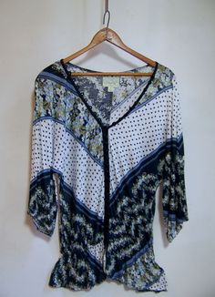 Anthropologie DELETTA Jersey Shirt Top Sz M Dolman Sleeves Full Button Front  #Deletta #PullonStyle
