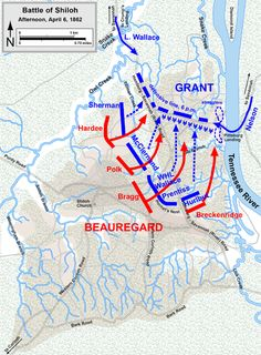 """Troop positions, Afternoon April 6, 1862. Confederate battle lines become confused during fierce fighting, and Grant's men instead fell back to the northeast, in the direction of Pittsburg Landing. A position on a slightly sunken road, nicknamed the """"Hornet's Nest"""", defended by the men of Brig. Gens. Benjamin M. Prentiss's and W. H. L. Wallace's divisions, provided critical time for the rest of the Union line to stabilize under the protection of numerous artillery batteries."""
