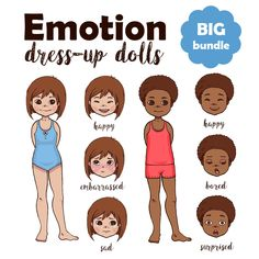 Emotion Dress-Up Doll: Girl Edition - Adventure in a Box Emotions Game, Emotions Activities, Canada For Kids, Printable Designs, Printables, Printable Board Games, Learning For Life, Human Body Anatomy, Human Body Systems