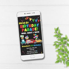 Drive By Birthday Parade Invitation, Drive By Kids Birthday Digital Invite, Birthday Parade Phone Invite, Custom Digital Invite for Drive By Party Invitations Kids, Digital Invitations, Boy Birthday Parties, Girl Birthday, Dinosaur Party Decorations, Diy Party Supplies, Party Shop, Party Printables, Invite