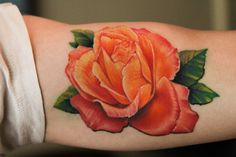 By Matt Geiogamah at Salt & Light Tattoo, Chandler, Arizona. Orange Rose Tattoo, I'd get this