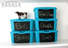 Repurpose baby wipe containers using chalk paint labels.