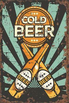 Vintage Metal Sign - Cold Beer