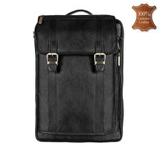 ca47211db7 Leather World Black Genuine Leather Backpacks Bag for men and women -   BP3019