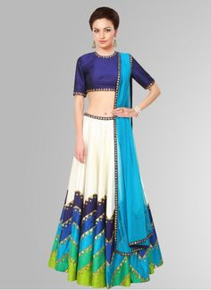 White And Sky Blue Semi Stitched Navratri Special Lehenga Choli #Lehenga #White…
