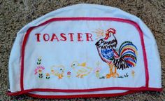 Vintage Embroidered Rooster Chickens Toaster Cover 1940s 1950s Retro Kitchen via Etsy