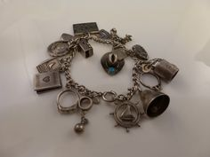 Antique Old Sterling Charm Bracelet Unique ball and chain cuffs bottle that opens