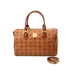 93c046daaadb MCM Medium Boston Bag Visetos Cognac Coated Canvas Travel Bag. LXRandCo