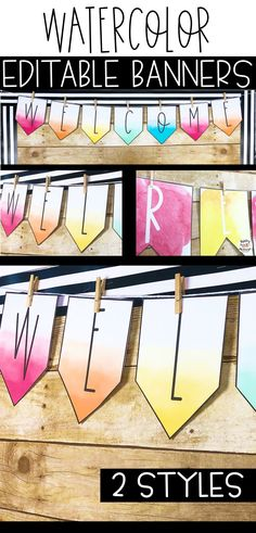 Editable watercolor banners! These will be a great addition to your classroom decor! #classroomdecor #editableclassroombanners #editablebanners #watercolorclassroomdecor