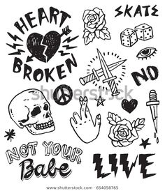 Illustration about A set of grunge doodles and badges to draw or embroider on to fashion items like denim jackets. Illustration of heart, dice, embroider - 141095664 Punk Tattoo, Kritzelei Tattoo, Grunge Tattoo, Doodle Tattoo, Tattoo Set, Tattoo Sketches, Tattoo Drawings, Tattoos To Draw, Arabic Tattoos