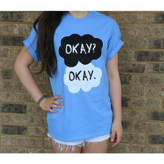 The Fault In Our Stars Okay Okay Blue Tshirt ($20) ❤ liked on Polyvore featuring tops, t-shirts, shirts, pictures, tfios, t shirt, blue top, blue tee, star print t shirt and collar t shirt
