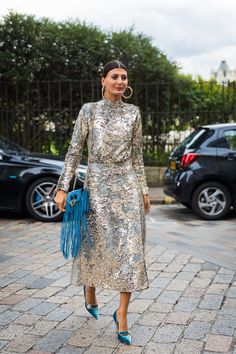Giovanna Battaglia gives us a master class in sequins. | The Best Street Style Outfits From All of Fashion Month | POPSUGAR Fashion Photo 46