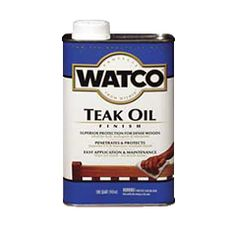 WATCO® Teak Oil is for dense woods such as teak, rosewood or mahogany. Penetrates deep into wood pores to create the rich, warm glow of a hand-rubbed finish.