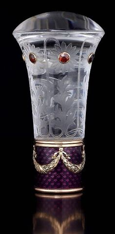 SUPERB Russian antique FABERGE gem-set rock crystal and royal purple guilloche enamel parasol handle, workmaster Albert Holmstrom, made in St. Petersburg between 1908 and 1917.