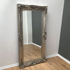 This beautiful full length silver antique effect mirror exudes elegance and class. The mirror offers a traditional ornate antique feel with a slight modern twist making it perfectly suited to a range of different home décors. Size: 200 x Lean Design, Interior Styling, Interior Decorating, Champagne, Mirror Inspiration, Dressing Room Design, Ornate Mirror, Diy Décoration, Ideas