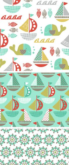 """wendy kendall designs - """"set sail"""" - a cute mix of naval patterns! Kids Patterns, Color Patterns, Print Patterns, Textile Patterns, Textile Design, Fabric Design, Cute Pattern, Pattern Art, Art Graphique"""
