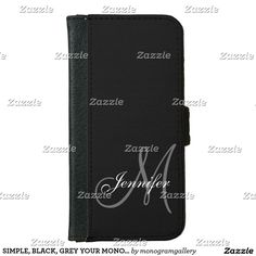 7f2b7e97d97 SIMPLE, BLACK, GREY YOUR MONOGRAM YOUR NAME WALLET PHONE CASE FOR iPhone 6/ 6S