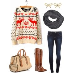 vanity cake on polyvore--Deer Christmas Sweater, bow earrings, riding boots, skinnies, scarf