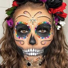Last minute Halloween beauty services Halloween makeup for your halloween party. Haloween Makeup, Halloween Makeup Sugar Skull, Amazing Halloween Makeup, Sugar Skull Makeup, Halloween Looks, Costume Makeup, Halloween Party, Sugar Skull Costume, Halloween Costumes