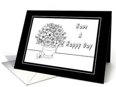 Happy Day-Coloring Book-Flowers-Custom Card