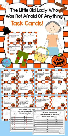This task card activity is a great Literacy Center to use after the children have read The Little Old Lady Who Was Not Afraid Of Anything. The children can record their responses on the printable or in a reading response notebook.Included:16 Comprehension