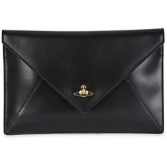 Vivienne Westwood Private Black Leather Clutch ($72) ❤ liked on Polyvore featuring bags, handbags, clutches, malas, purses, leather clutches, handbags clutches, hand bags, leather handbags and genuine leather handbags