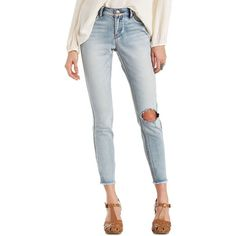 Refuge Cut-Off Ankle Destroyed Jeans ($33) ❤ liked on Polyvore featuring jeans, light wash denim, button-fly jeans, cuffed capri jeans, ripped jeans, white capris and white capri jeans