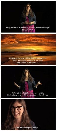 Mayim on why science is so cool.  If you don't find your science classes cool, don't blame science, you probably have an unimaginative teacher.  Transfer to another class.