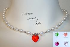 DIY Pearl necklace Kit w freshwater pearls & Swarovski heart pendant, pearl DIY kit, Heart necklace kit, DIY pearl necklace, begin bead kit by LovelyDawn on Etsy Diy Jewelry Making Kits, Jewelry Kits, Wire Jewelry, Custom Jewelry, Swarovski Heart Pendant, Crimp Beads, Bead Kits, Ivory Pearl, Freshwater Pearl Necklaces
