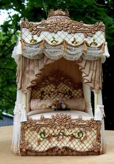 "Prev Pinner: ""lovely but I think I would need a miniature castle not a doll house for this bed"" Miniature Rooms, Miniature Houses, Miniature Furniture, Dollhouse Furniture, Fairy Furniture, Barbie Furniture, My Doll House, Doll Houses, Fairy Houses"