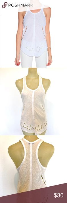 """IRO """"Dolly Tank"""" in off shite size 36 lightly used IRO Dolly tank size 26 equal to size 2/4 or Small. 70% cotton 30% viscose  in cream color with cut out detail. Gauzy summery long tank - raced back ✨make me an offee✨ IRO Tops Tank Tops"""